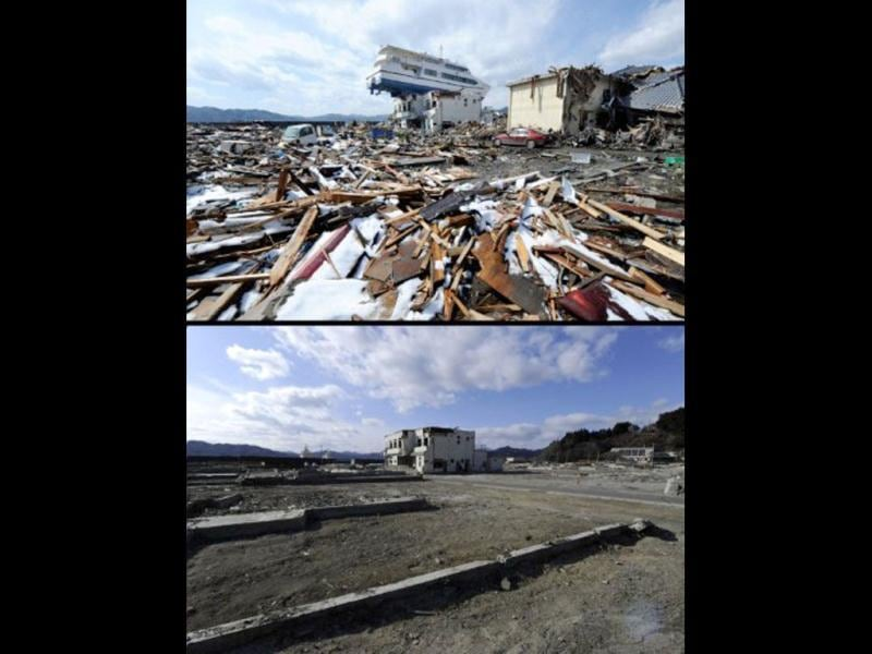 This combination of pictures shows a catamaran sightseeing boat washed by the tsunami onto a two-storey tourist home in Otsuchi, Iwate prefecture on April 16, 2011 (top) and the same area on January 16, 2012 (bottom). (AFP photo/ Yasuyoshi Chiba) (top) (AFP photo / Toru Yamanaka) (bottom)