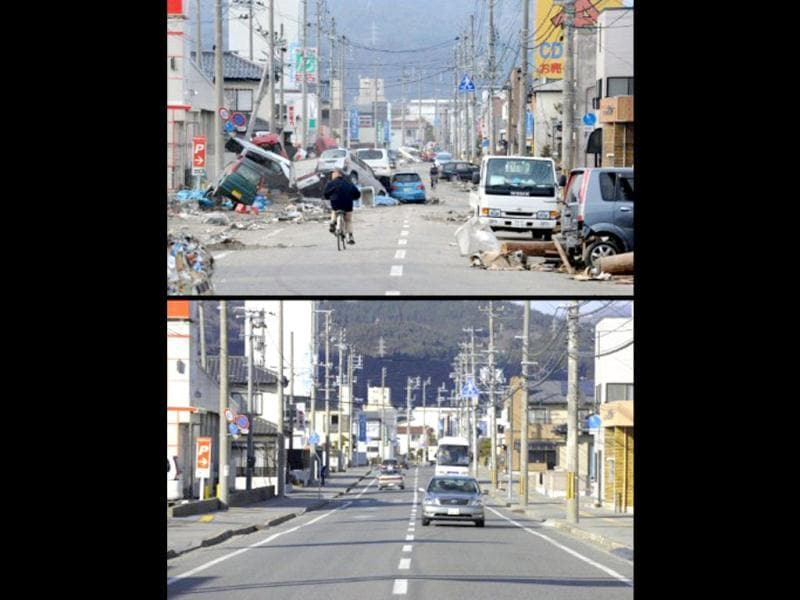 This combination of pictures shows the view of a tsunami hit street in Ofunato, Iwate prefecture on March 14, 2011 (top) and the same scene as it appears on January 15, 2012 (bottom). (AFP photo/Toshifumi Kitamura) (top) (AFP photo / Toru Yamanaka) (bottom)