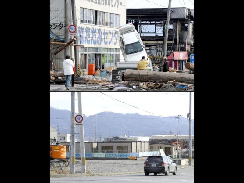 This combination of pictures shows the view of a tsunami hit area in Ofunato, Iwate prefecture on March 14, 2011 (top) and the same scene as it appears on January 15, 2012 (bottom). (AFP photo/Toshifumi Kitamura) (top) (AFP photo / Toru Yamanaka) (bottom)