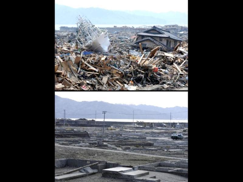 This combination of pictures shows a fishing boat lying amongst the tsunami rubble in Otsuchi, Iwate prefecture on March 31, 2011 (top) and the same area on January 16, 2012 (bottom). (AFP photo/Toshifumi Kitamura) (top) (AFP photo / Toru Yamanaka) (bottom)