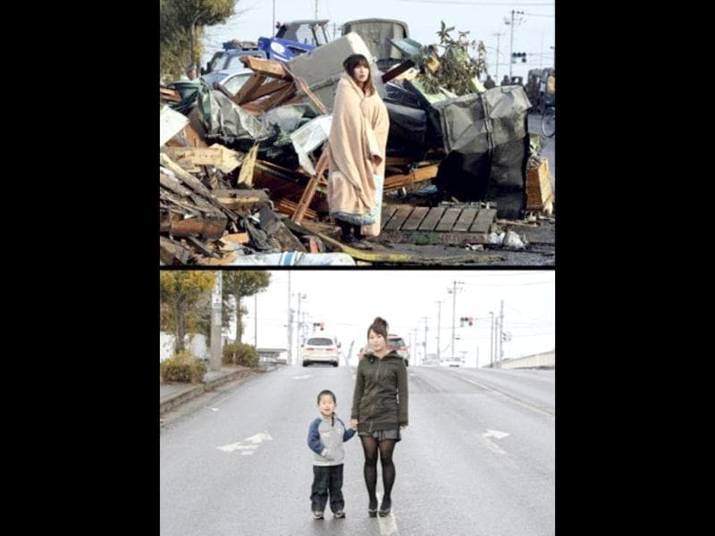 This combo shows a photo of Yuko Sugimoto wrapped with a blanket standing in front of debris looking for her son in the tsunami-hit town of Ishinomaki in Miyagi Prefecture on March 13, 2011 (top) and the same housewife standing with her five-year-old son Raito at the same place on January 27, 2012 (bottom) . (AFP photo/ Yomiuri SHhimbnun) (top) (AFP photo / Toru Yamanaka) (bottom)