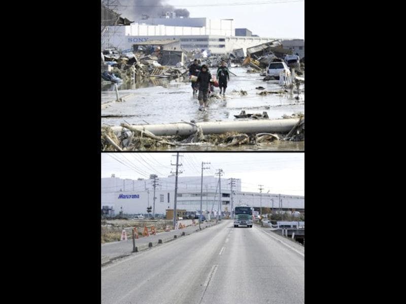 This combination of pictures shows local residents walking in a flooded street in a tsunami hit area of Tagajo, Miyagi prefecture on March 13, 2011 (top) and the same area on January 12, 2012 (bottom). (AFP photo/ Kazuhiro Nogi) (top) (AFP photo/Toru Yamanaka)(bottom)