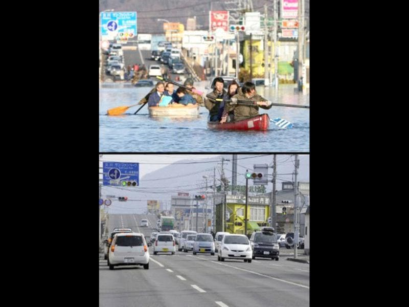 This combination of pictures shows people evacuating with small boats down a road flooded by the tsunami in the city of Ishinomaki in Miyagi prefecture on March 12, 2011 (top) and the same area on January 13, 2012 (bottom). (AFP photo/Jiji press)(top) (AFP photo/Toru Yamanaka)(bottom)