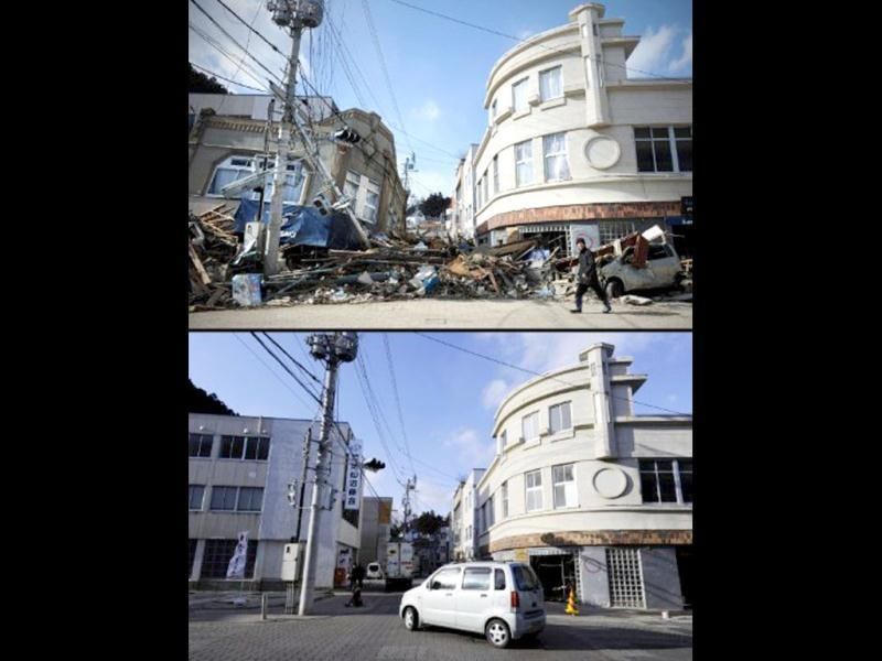 This combination of pictures shows a survivor walking past rubble and collapsed buildings in Kesennuma in Miyagi prefecture on March 18, 2011 (top) following the March 11, 2011 tsunami and the same area on January 14, 2012 (bottom). (AFP photo/Philipe Lopez) (top) (AFP photo/Toru Yamanaka)(bottom)