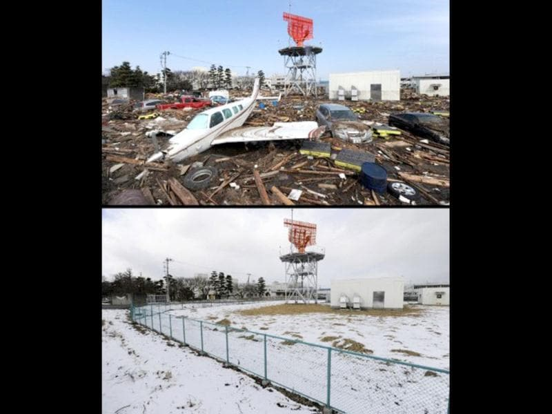 This combination of pictures shows a private plane, cars and debris outside Sendai Airport in Natori, Miyagi prefecture on March 13, 2011 (top) two days after a tsunami hit the region on March 11, 2011 and the same area on January 12, 2012 (bottom). (AFP photo/ Mike Clarke) (top) (AFP photo/Toru Yamanaka)(bottom)