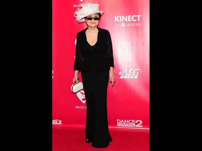 Yoko Ono poses at the 2012 MusiCares Person of the Year Tribute.