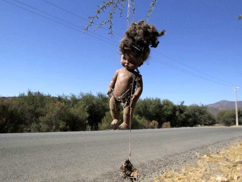 A doll hangs from a tree next to a road near the Runge reservoir in the town of Runge, some 60 km (37 miles) north of Santiago. Chile has around 77 communes in three regions that have been put under a state of agricultural emergency. Picture taken on February 3, 2012. Reuters/Ivan Alvarado