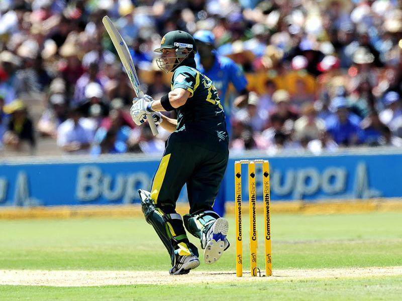 Australia's Michael Clarke bats against India during their One Day International series cricket match in Adelaide, Australia. AP Photo/David Mariuz
