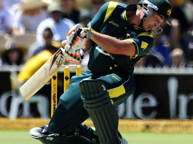 Australia's Peter Forrest bats against India during their One Day International cricket series match in Adelaide, Australia. (AP Photo/David Mariuz)