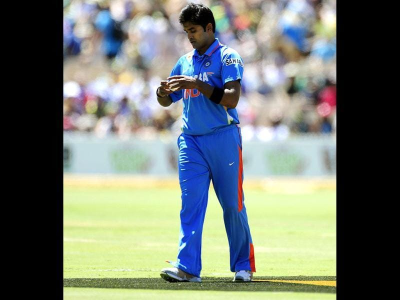 Vinay Kumar prepares to bowl against Australia during their One Day International series match in Adelaide, Australia. (AP Photo/David Mariuz)