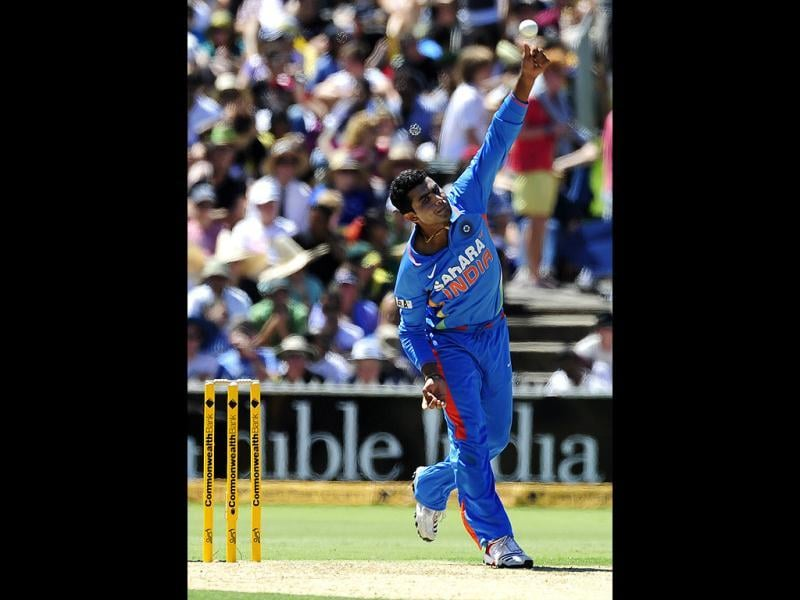 Ravindra Jadeja bowls against Australia during their One Day International cricket series match in Adelaide, Australia. AP Photo/David Mariuz