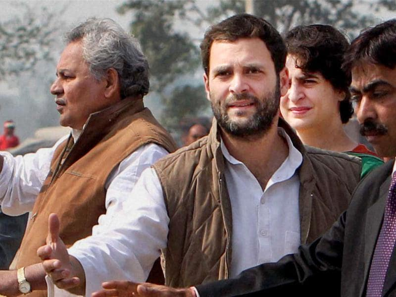 Priyanka Gandhi Vadra and Rahul Gandhi during an election campaign in Sultanpur. PTI Photo