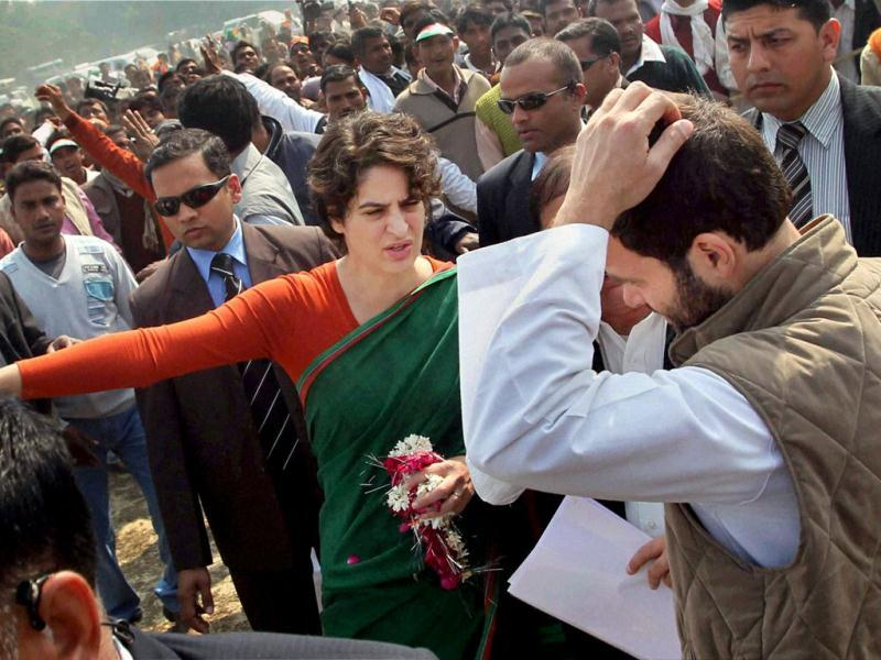 Congress general secretary Rahul Gandhi and Priyanka Gandhi Vadra during election campaign in support of Congress party in Sultanpur. PTI Photo