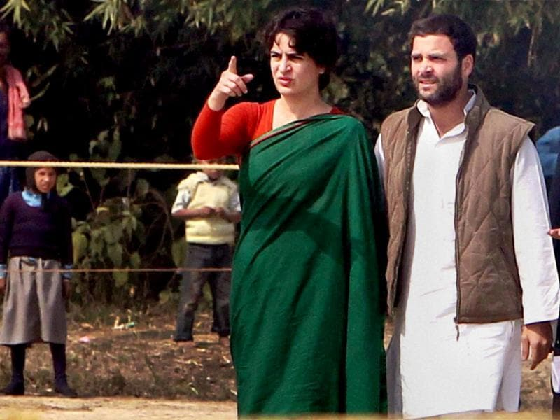 A file photo of Congress vice-president Rahul Gandhi and Priyanka Gandhi Vadra during an election campaign in Sultanpur. (PTI photo)