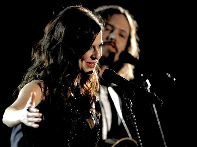 Joy Williams and John Paul White, of musical group The Civil Wars, perform during the 54th annual Grammy Awards.
