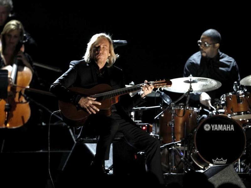 Joe Walsh performs during the 54th annual Grammy Awards.