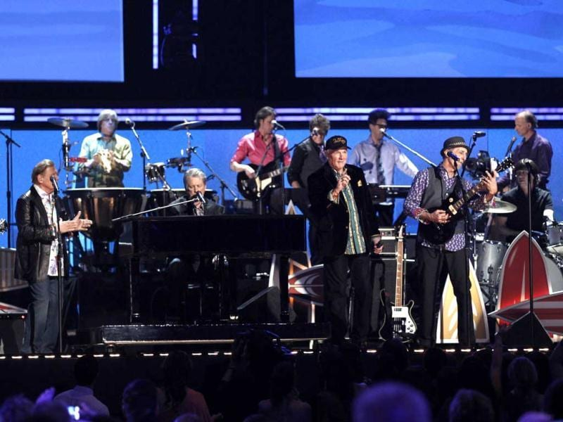 The band Beach Boys performs during the 54th annual Grammy Awards in Los Angeles.