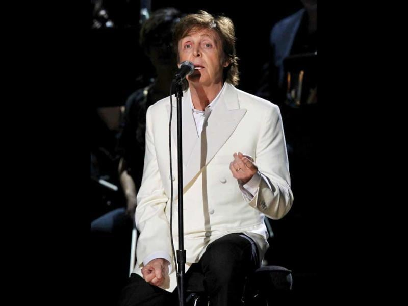 Paul McCartney performs My Valentine at the 54th annual Grammy Awards in Los Angeles.