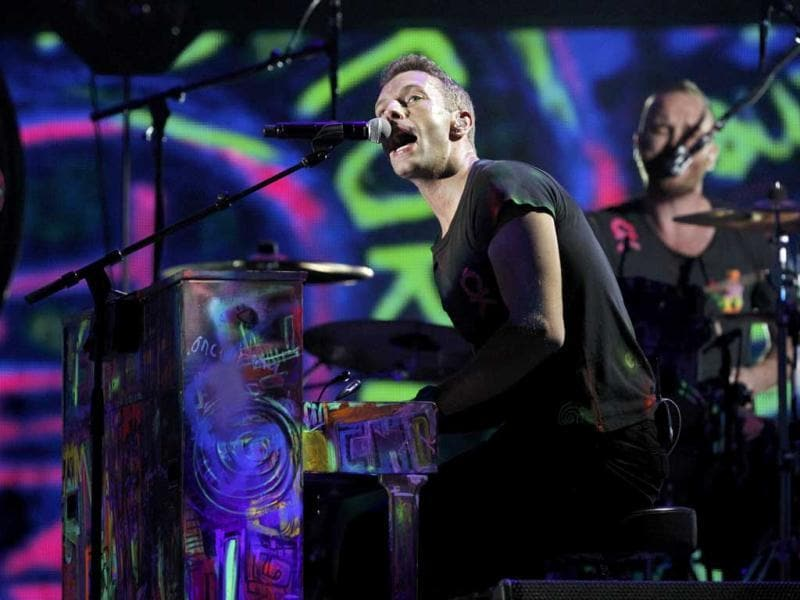 Coldplay singer Chris Martin performs at the 54th annual Grammy Awards.
