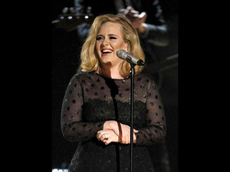 Adele, who won six awards, performs at the 54th Grammy's in Los Angeles
