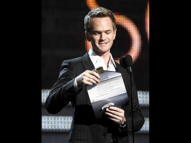 Neil Patrick Harris presents the award for song of the year during the 54th annual Grammy Awards in Los Angeles. (AP Photo)