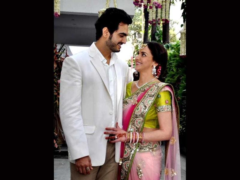 Esha Deol along with her beau at the engagement ceremony in Juhu, Mumbai on Feb 12.