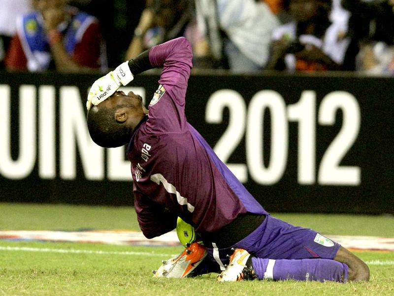 Ivory Coast's goalkeeper Boubacar Barry reacts during a penalty shoot-out against Zambia in the African Cup of Nations final soccer match at Stade de l'Amitie in Libreville, Gabon on Sunday. (AP Photo/Rebecca Blackwell)