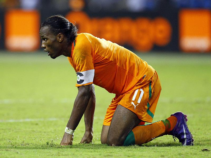 Ivory Coast captain Didier Drogba reacts during their African Cup of Nations final soccer match against Zambia at Stade de L'Amitie in Libreville, Gabon. (AP Photo/Francois Mori)