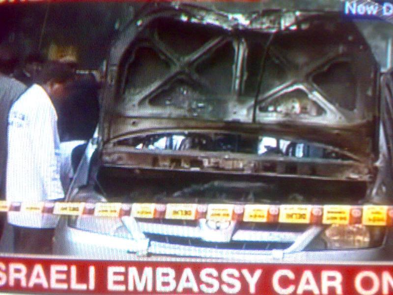 Screen grab of the vehicle hit by an explosion outside the Israeli embassy in New Delhi.