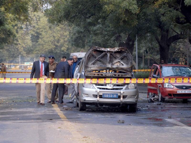 The car hit by an explosion outside the Israeli embassy in New Delhi.