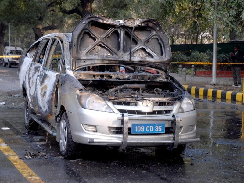 The car belonging to the Israel embassy after an explosion tore through that in New Delhi.