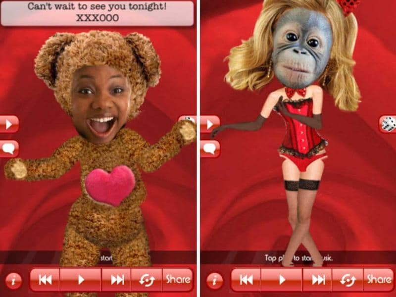 Love Booth: This one is more silly than romantic, but you put your face into a dancing character. Add your choice of costumes, wigs, and music - then send your dancing doppleganger to your honey!