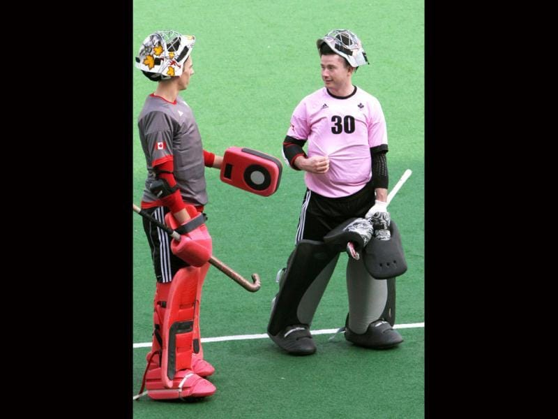 Canada's hockey team goalkeepers during the practice ahead of up coming Olympic qualifier matches at national stadium in New Delhi. HT photo by Mohd Zakir