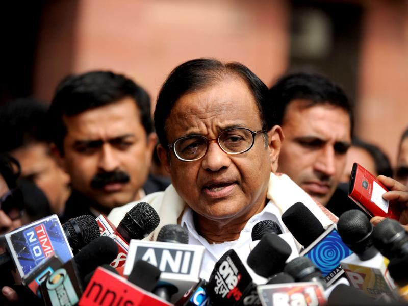 Home minister P Chidambaram speaks to the media after a government security meeting in New Delhi. AFP photo/Sajjad Hussain