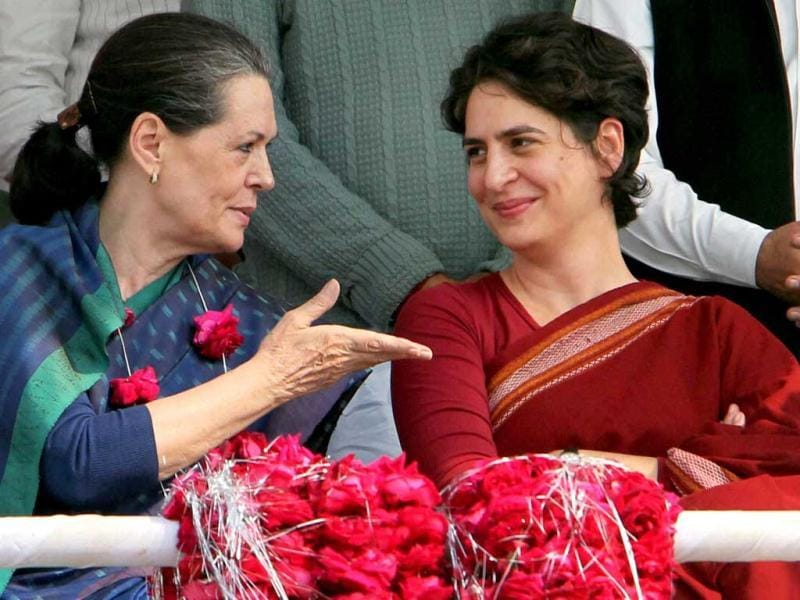 Priyanka Gandhi Vadra with her mother and UPA Chairperson Sonia Gandhi at an election campaign in rally in Raebareli. PTI Photo/Atul Yadav