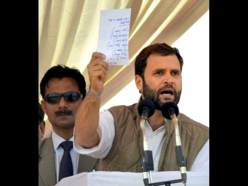 Congress general secretary Rahul Gandhi addressing an election campaign rally in Agra. PTI photo