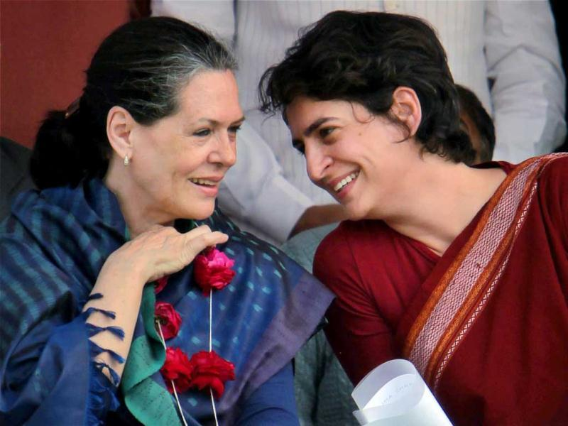 Priyanka Gandhi Vadra with her mother UPA Chairperson Sonia Gandhi at an election campaign rally in Raebareli. PTI Photo/ Atul Yadav