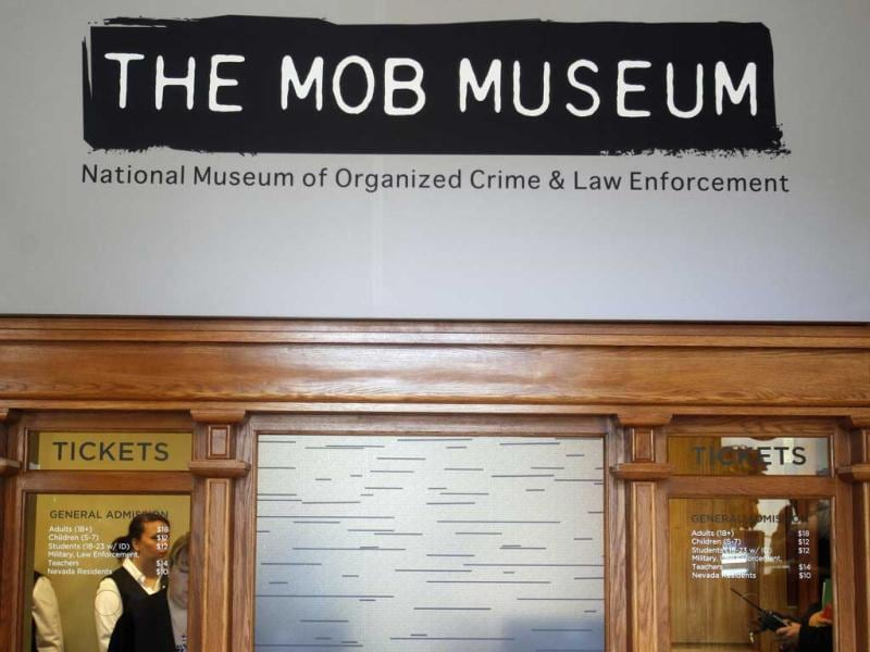 Ticket windows are pictured at the Mob Museum in Las Vegas. The museum is housed in a former federal courthouse where a US Senate hearing on organised crime was held in the early 1950's. AP/Isaac Brekken