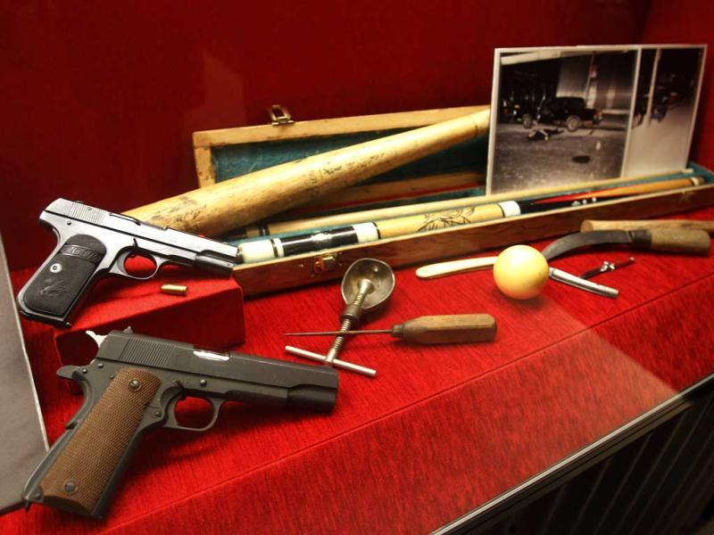 Weapons are on display at the Mob Museum in Las Vegas. It includes an oddball collection of household items - a shovel, a hammer, a baseball bat and an icepick- showing the creative side of some of America's most notorious killers. AP/Isaac Brekken