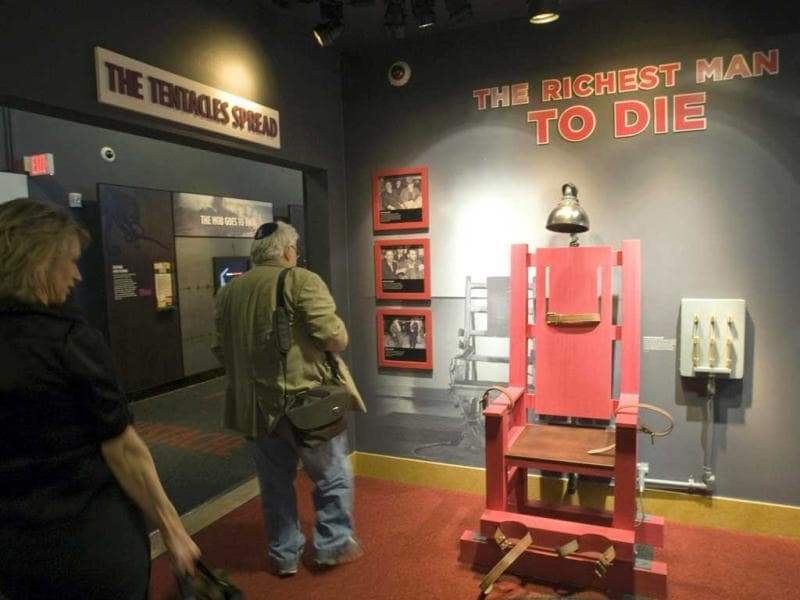 A mock-up of an electric chair is displayed at the Mob Museum in Las Vegas. The display refers to the 1944 execution of mob boss Louis 'Lepke' Buchalter. Reuters/Steve Marcus