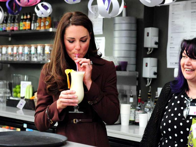 Catherine, The Duchess of Cambridge, tries a smoothie drink called the 'Duchess' during a visit to the Brink, an alcohol-free bar in Liverpool. AFP/Mark Large