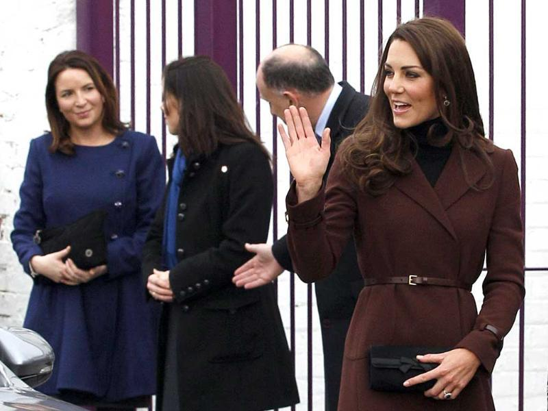 Britain's Catherine, Duchess of Cambridge, arrives for a visit to The Brink, an alcohol-free bar in Liverpool. Reuters/Darren Staples