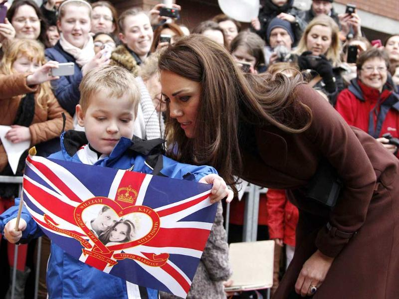 Britain's Catherine, Duchess of Cambridge speaks with a boy while visiting Alder Hey Children's Hospital in Liverpool. Reuters/Phil Noble