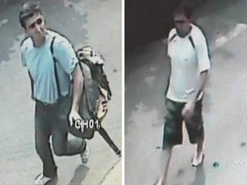 This combination picture shows three men suspected to be involved in three blasts in Bangkok in still images taken from closed-circuit television footage. Reuters/TPBS via Reuters TV