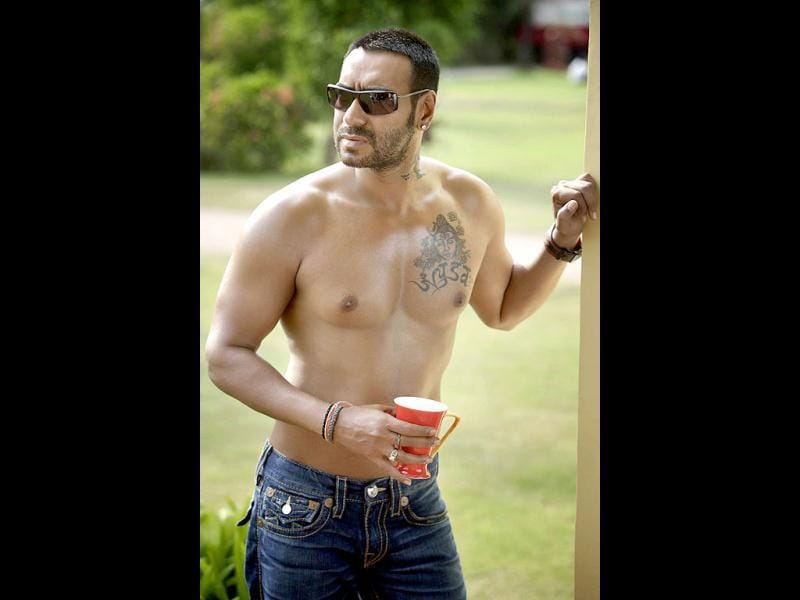 Ajay Devgn flaunts his body as well as tattoos.