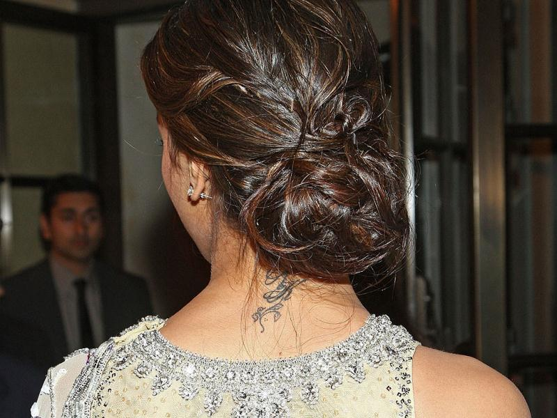 Deepika Padukone's RK tattoo on the nape of her neck looks uber cool.