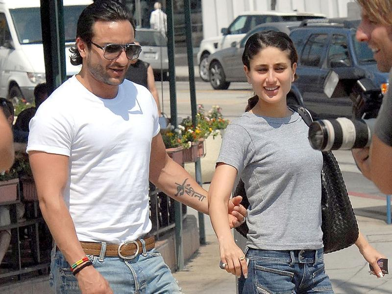 Saif Ali Khan sports a Kareena tattoo on his arm.