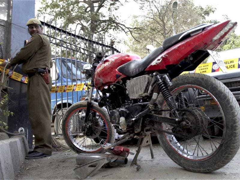 The bike suspected to be used by the man who planted the bomb on an Israeli diplomat's car, is seen parked inside the Saket Police Station in New Delhi after it was found near a park in Lado Sarai. PTI/Aman Sharma