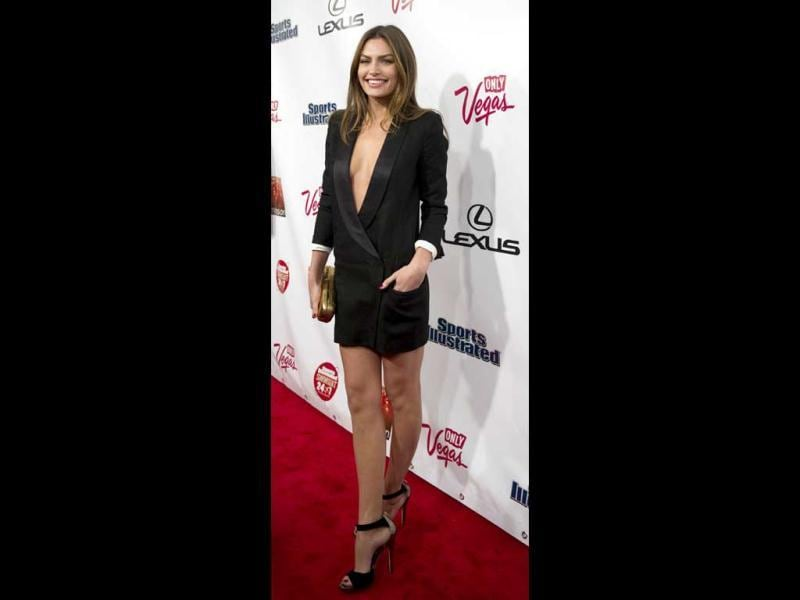 Model Alyssa Miller in a revealing black dress. (AFP Photo)