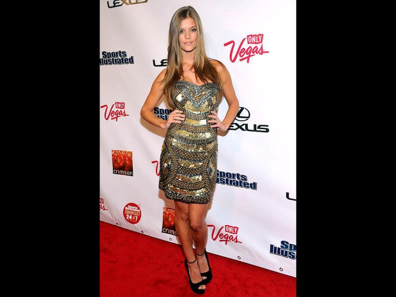 Nina Agdal poses at the event. (AFP Photo)